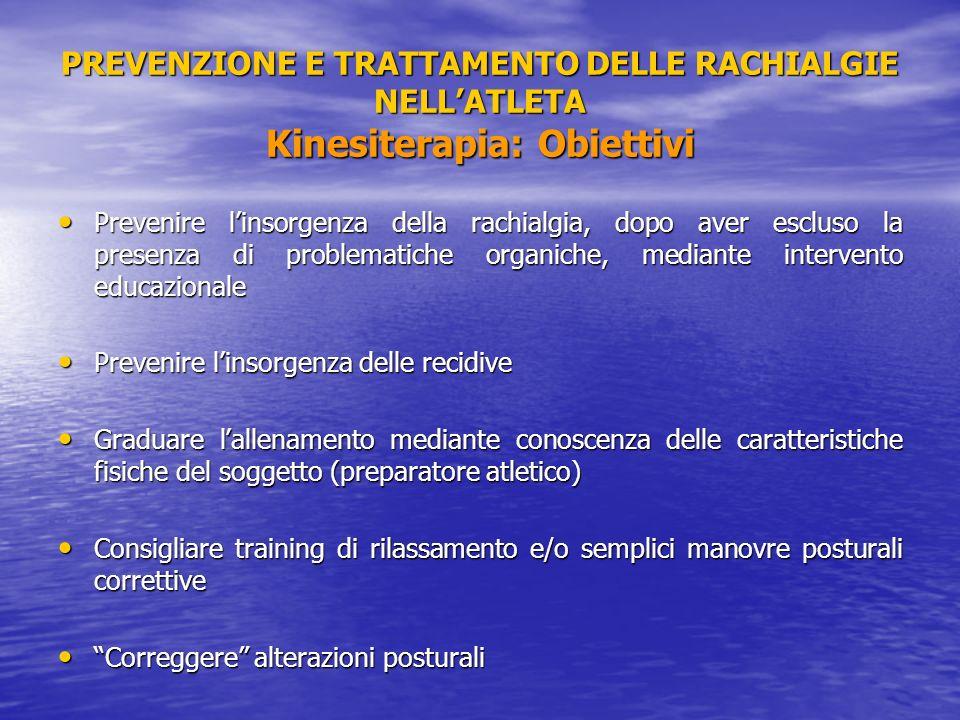 PREVENZIONE E TRATTAMENTO DELLE RACHIALGIE NELL'ATLETA Kinesiterapia: Obiettivi