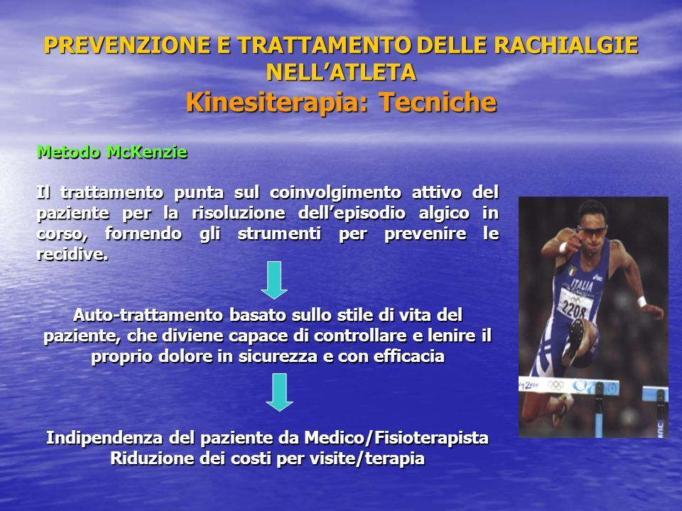 PREVENZIONE E TRATTAMENTO DELLE RACHIALGIE NELL'ATLETA Kinesiterapia: Tecniche