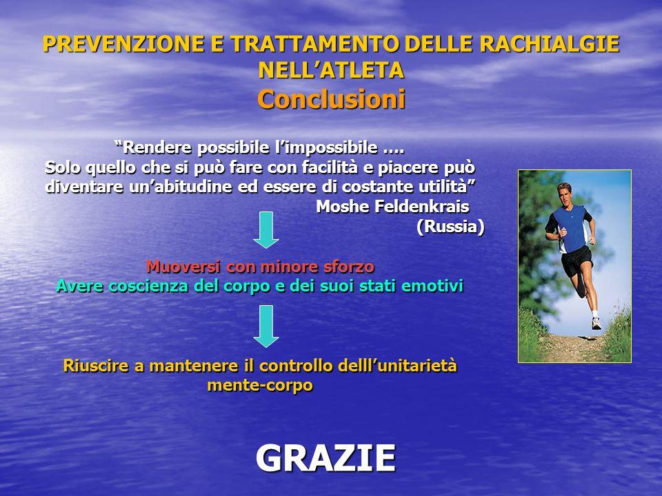 PREVENZIONE E TRATTAMENTO DELLE RACHIALGIE NELL'ATLETA Conclusioni