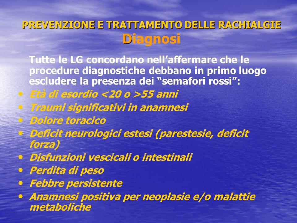 PREVENZIONE E TRATTAMENTO DELLE RACHIALGIE Diagnosi
