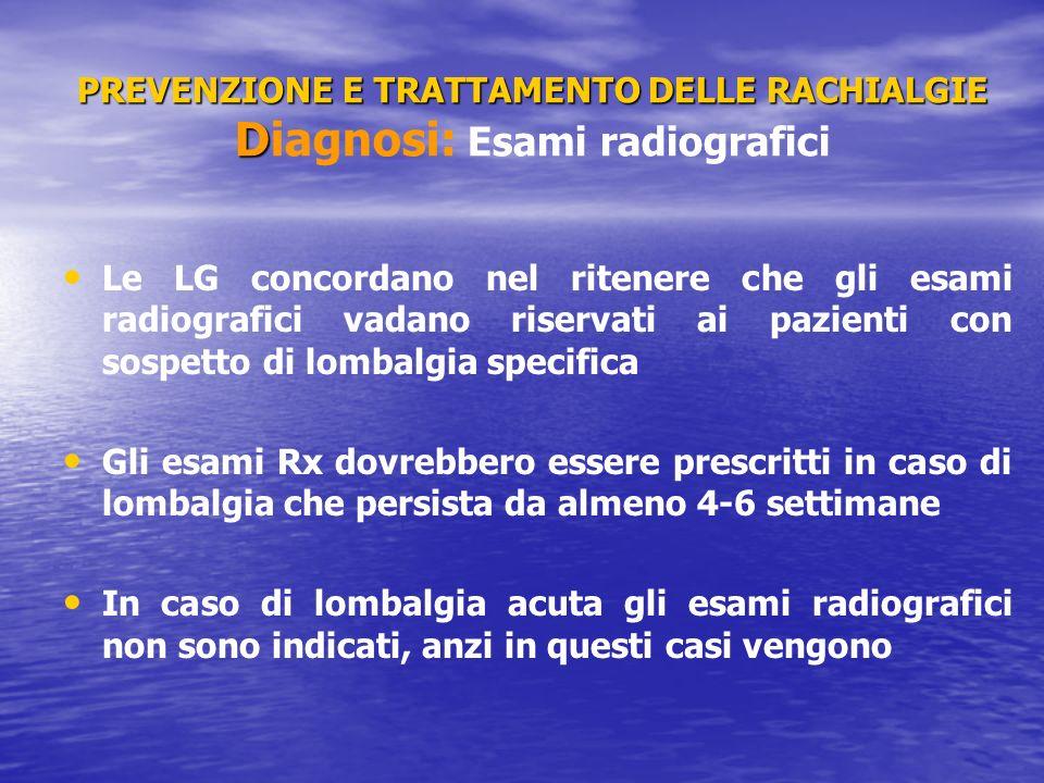 PREVENZIONE E TRATTAMENTO DELLE RACHIALGIE Diagnosi: Esami radiografici