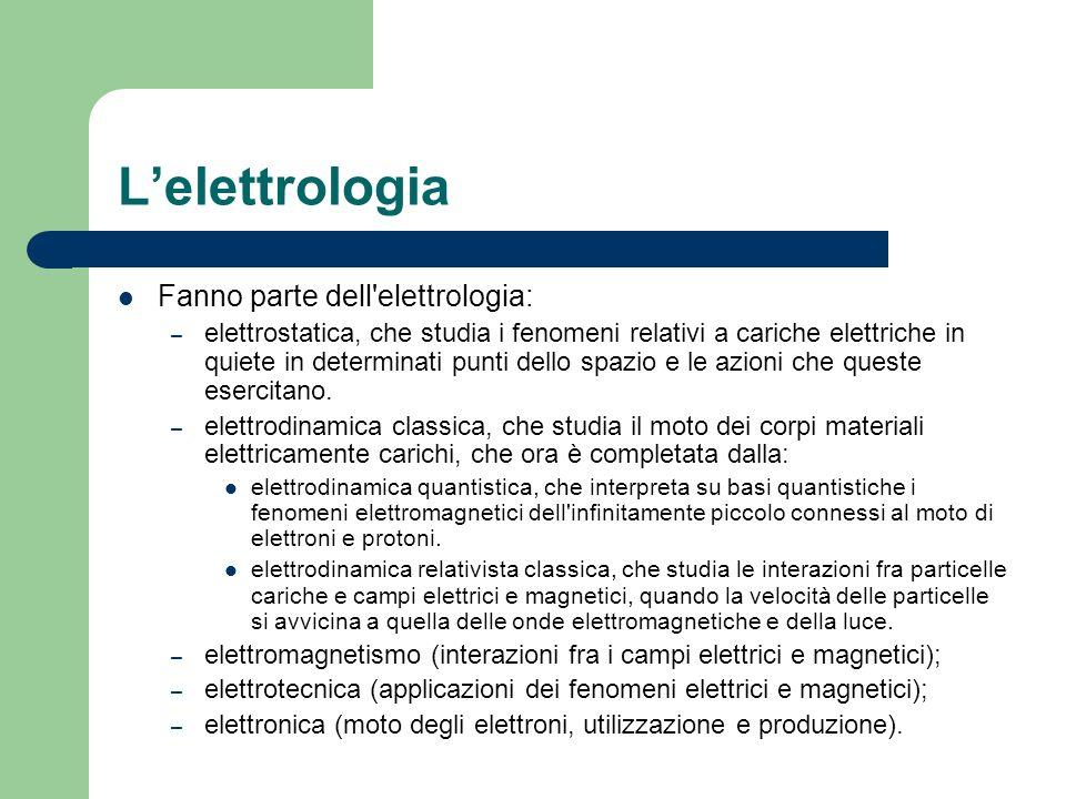 L'elettrologia Fanno parte dell elettrologia: