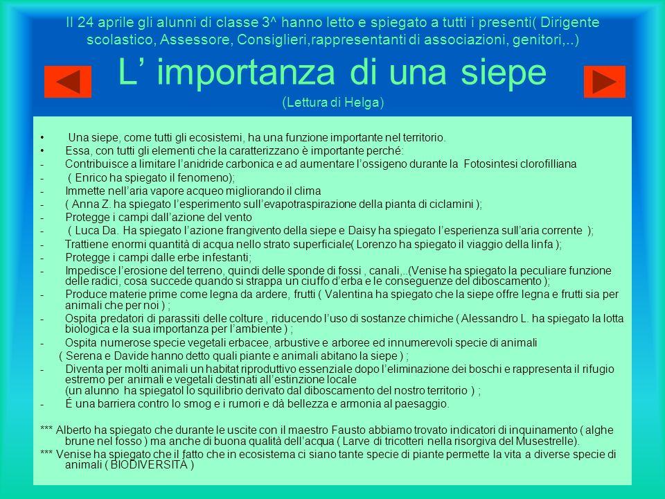 Il 24 aprile gli alunni di classe 3^ hanno letto e spiegato a tutti i presenti( Dirigente scolastico, Assessore, Consiglieri,rappresentanti di associazioni, genitori,..) L' importanza di una siepe (Lettura di Helga)