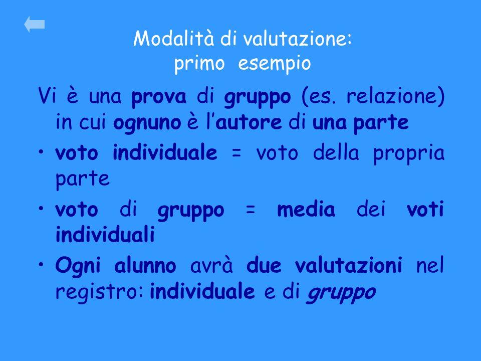Modalità di valutazione: primo esempio