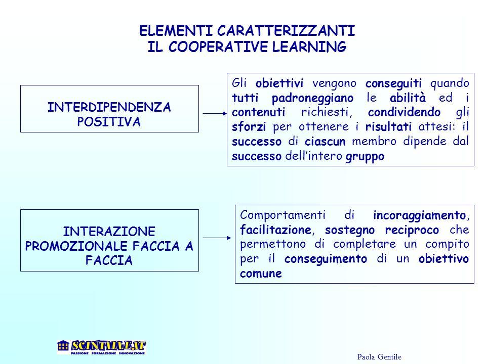 ELEMENTI CARATTERIZZANTI IL COOPERATIVE LEARNING