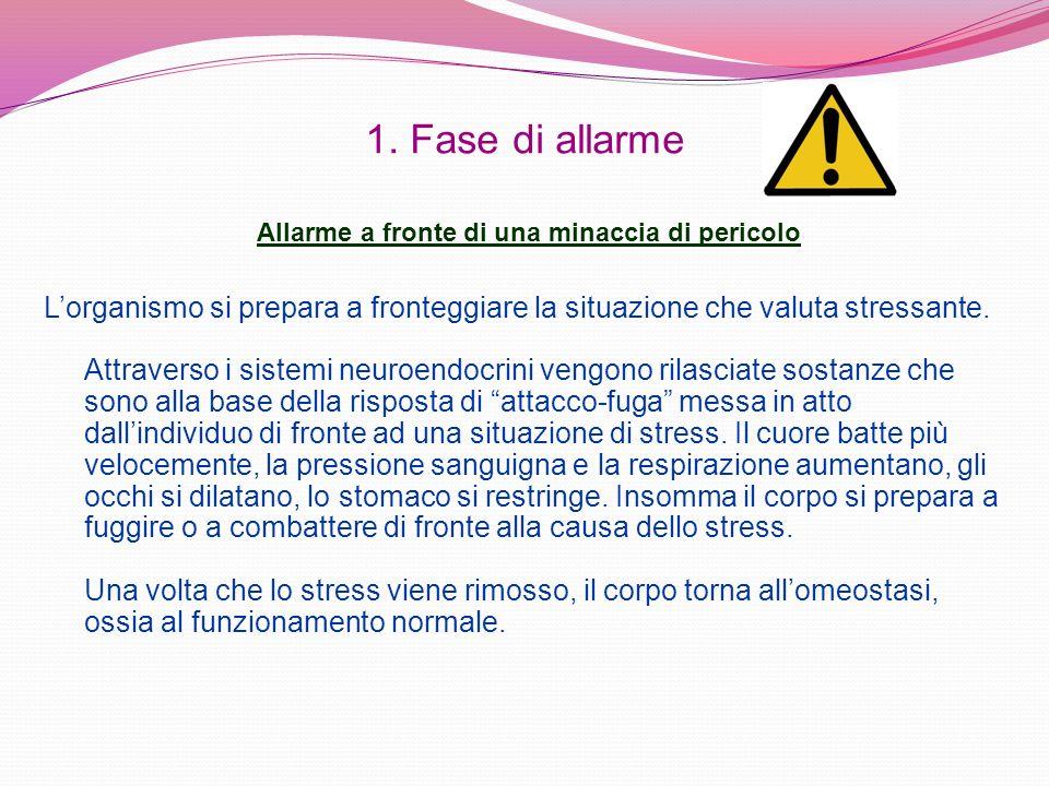 1. Fase di allarme Allarme a fronte di una minaccia di pericolo. L'organismo si prepara a fronteggiare la situazione che valuta stressante.