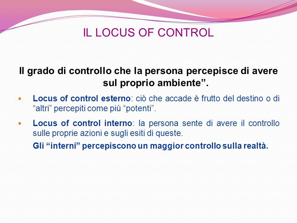 IL LOCUS OF CONTROLIl grado di controllo che la persona percepisce di avere sul proprio ambiente .