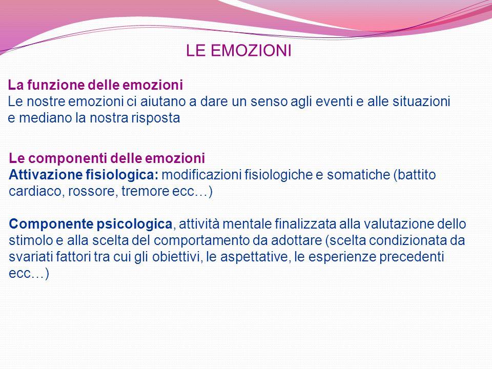LE EMOZIONI La funzione delle emozioni Le nostre emozioni ci aiutano a dare un senso agli eventi e alle situazioni e mediano la nostra risposta.