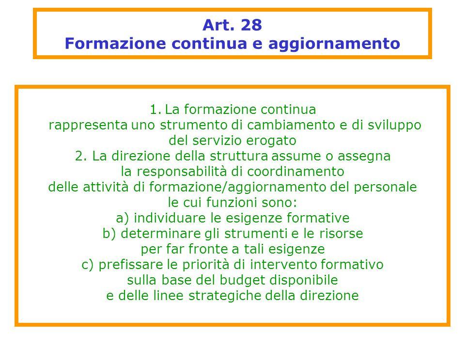 Art. 28 Formazione continua e aggiornamento
