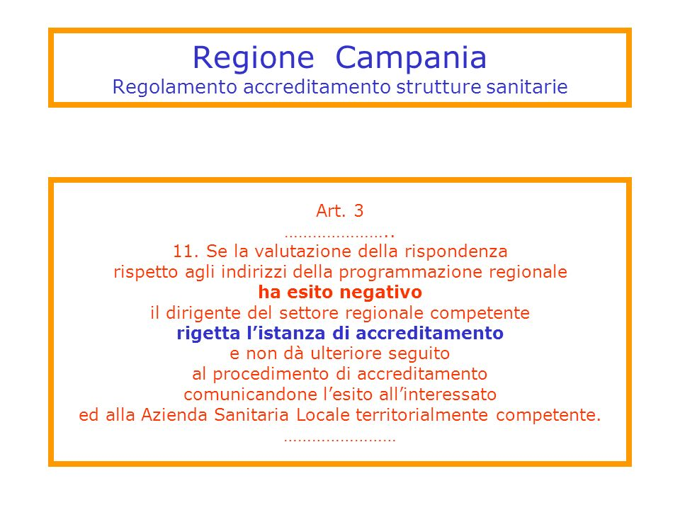Regione Campania Regolamento accreditamento strutture sanitarie