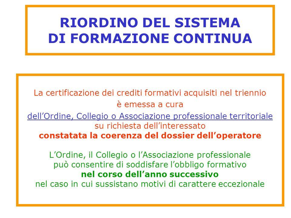RIORDINO DEL SISTEMA DI FORMAZIONE CONTINUA
