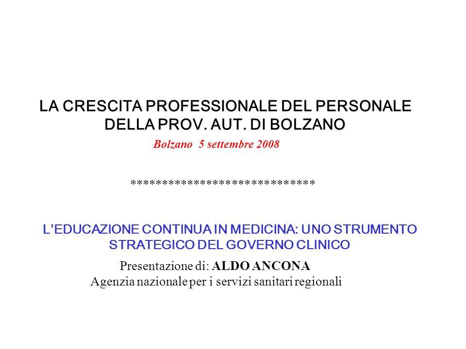 LA CRESCITA PROFESSIONALE DEL PERSONALE DELLA PROV. AUT. DI BOLZANO