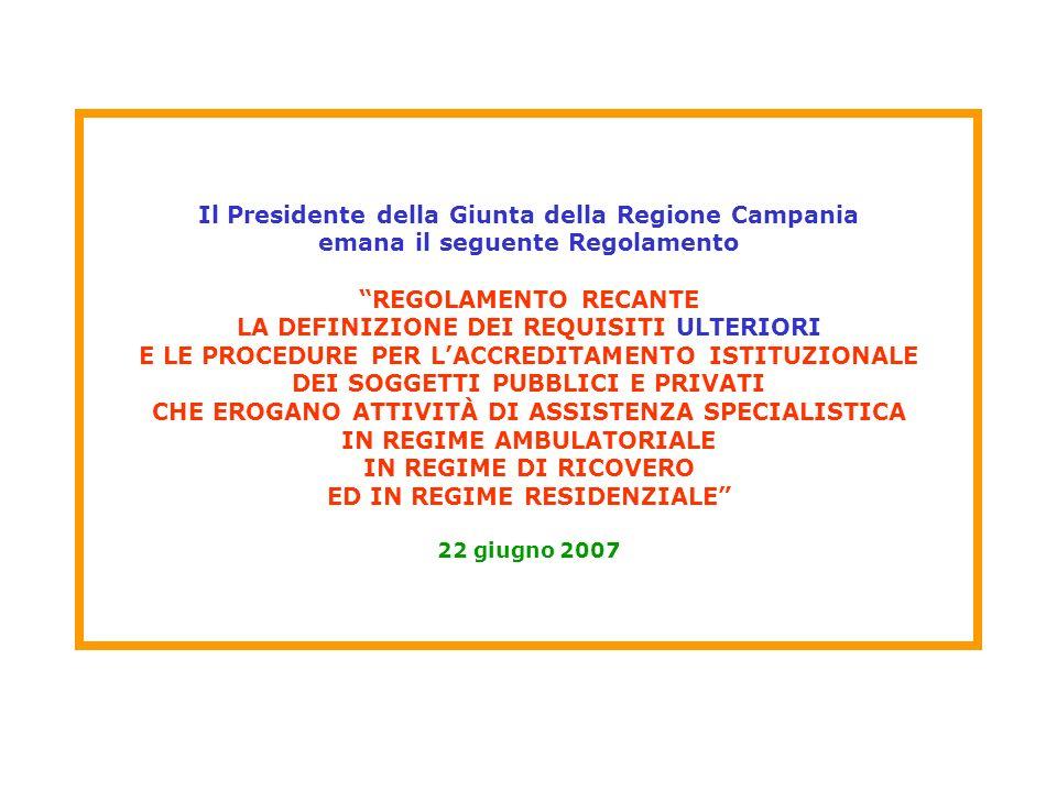 Il Presidente della Giunta della Regione Campania emana il seguente Regolamento REGOLAMENTO RECANTE LA DEFINIZIONE DEI REQUISITI ULTERIORI E LE PROCEDURE PER L'ACCREDITAMENTO ISTITUZIONALE DEI SOGGETTI PUBBLICI E PRIVATI CHE EROGANO ATTIVITÀ DI ASSISTENZA SPECIALISTICA IN REGIME AMBULATORIALE IN REGIME DI RICOVERO ED IN REGIME RESIDENZIALE 22 giugno 2007