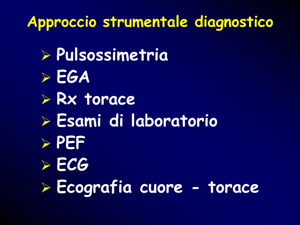 Approccio strumentale diagnostico