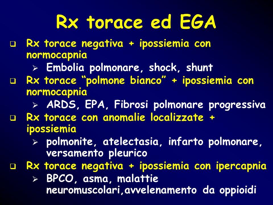 Rx torace ed EGA Rx torace negativa + ipossiemia con normocapnia