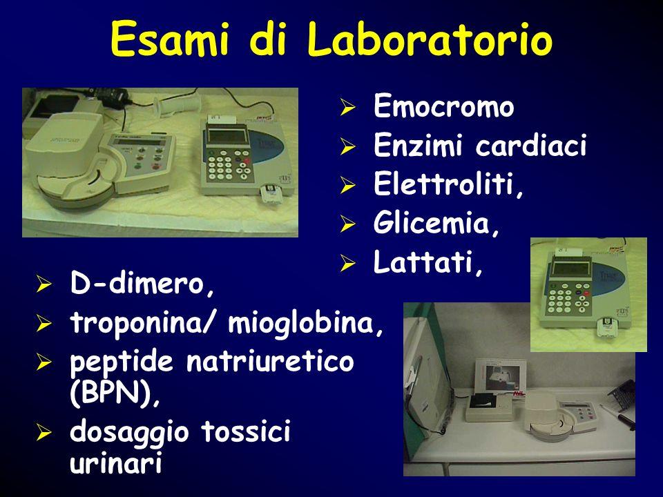 Esami di Laboratorio Emocromo Enzimi cardiaci Elettroliti, Glicemia,