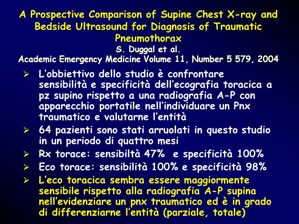 A Prospective Comparison of Supine Chest X-ray and Bedside Ultrasound for Diagnosis of Traumatic Pneumothorax S. Duggal et al. Academic Emergency Medicine Volume 11, Number 5 579, 2004