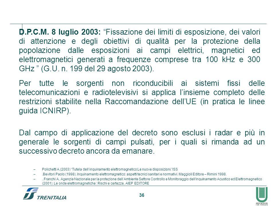 D.P.C.M. 8 luglio 2003: Fissazione dei limiti di esposizione, dei valori di attenzione e degli obiettivi di qualità per la protezione della popolazione dalle esposizioni ai campi elettrici, magnetici ed elettromagnetici generati a frequenze comprese tra 100 kHz e 300 GHz (G.U. n. 199 del 29 agosto 2003).