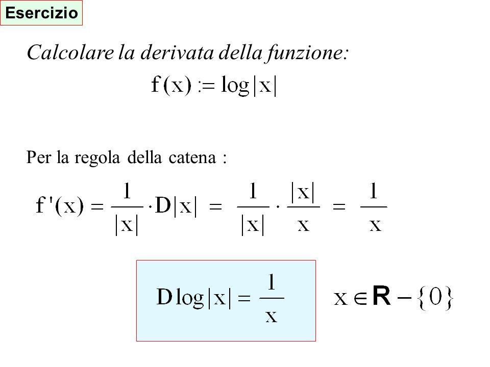Esercizio Calcolare la derivata della funzione: