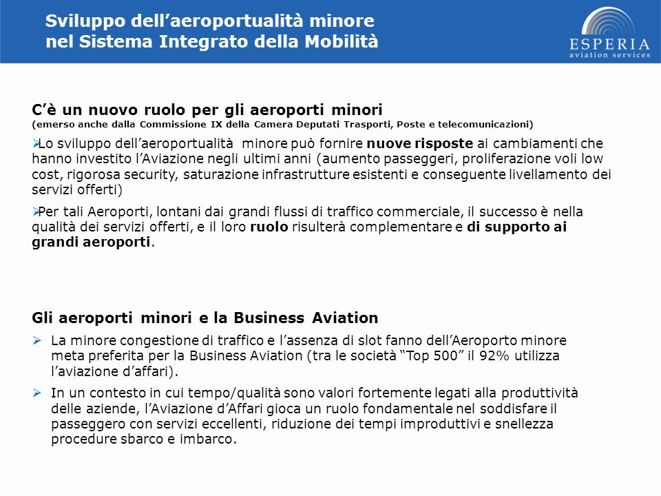 Sviluppo dell'aeroportualità minore