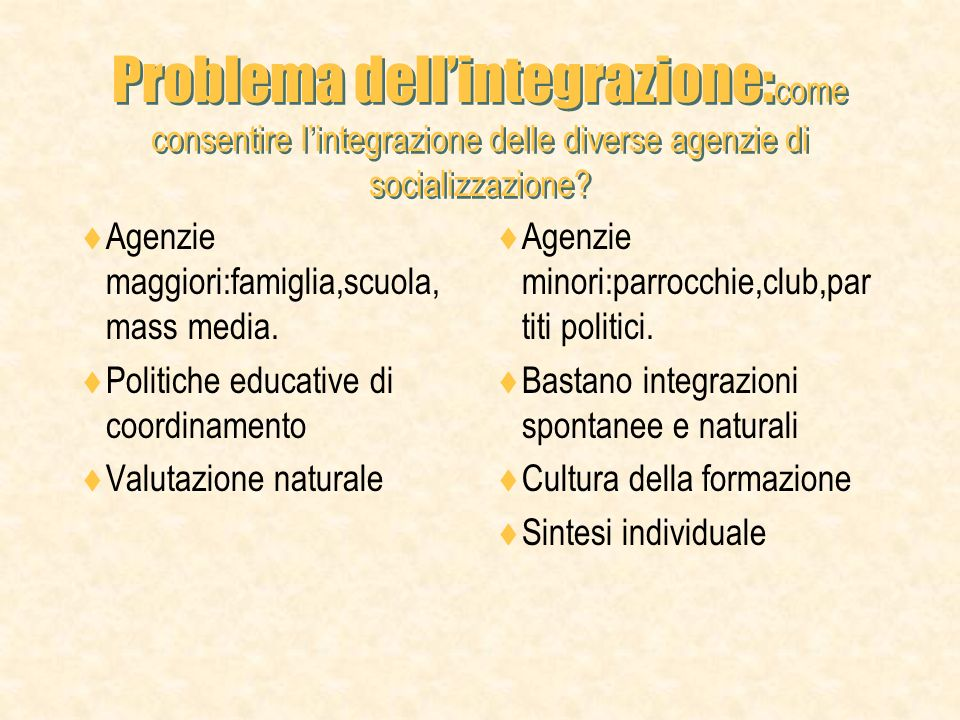 Problema dell'integrazione:come consentire l'integrazione delle diverse agenzie di socializzazione