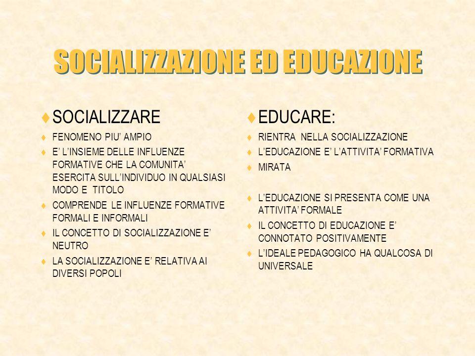 SOCIALIZZAZIONE ED EDUCAZIONE
