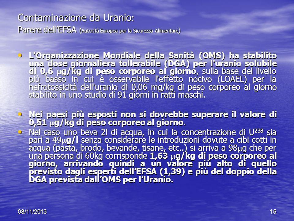 Contaminazione da Uranio: Parere dell'EFSA (Autorità Europea per la Sicurezza Alimentare)
