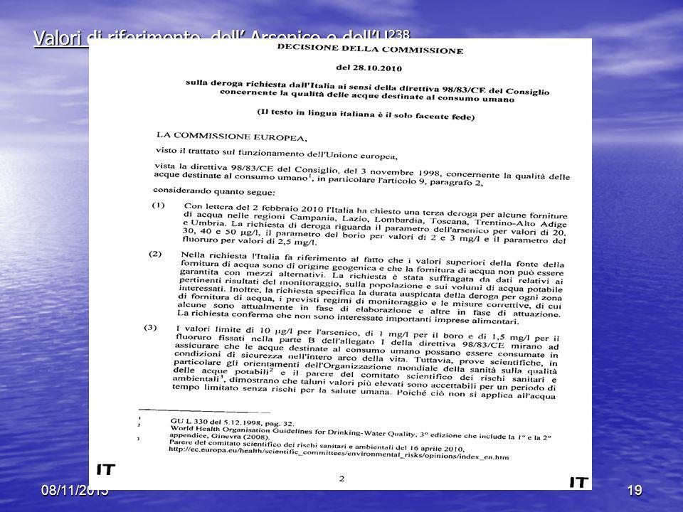 Valori di riferimento dell' Arsenico e dell'U238