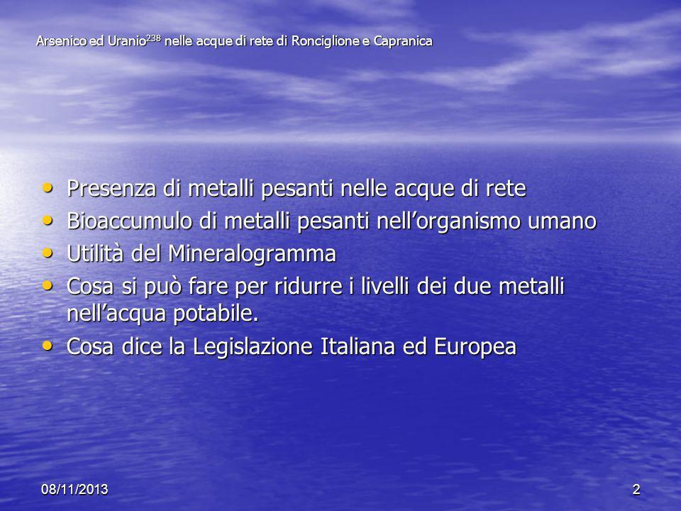 Arsenico ed Uranio238 nelle acque di rete di Ronciglione e Capranica