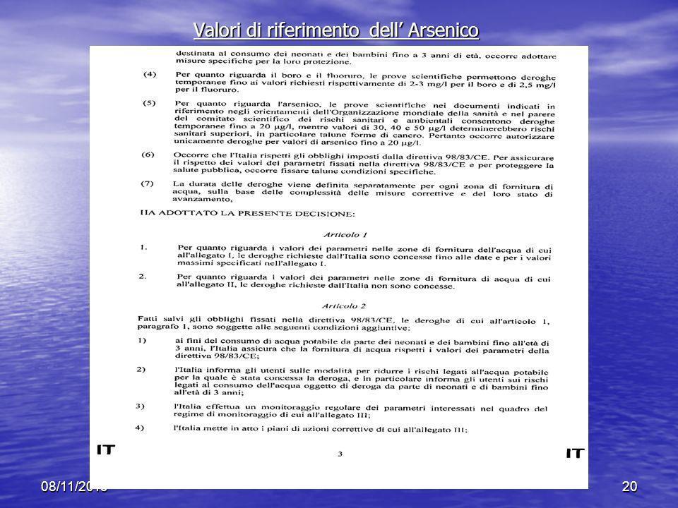 Valori di riferimento dell' Arsenico
