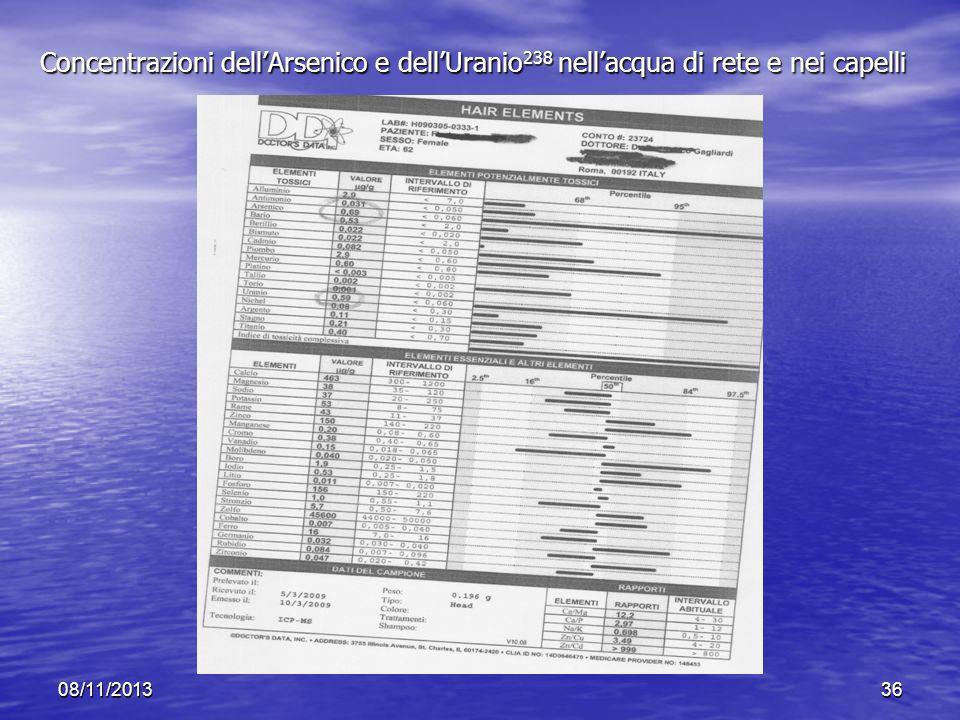 Concentrazioni dell'Arsenico e dell'Uranio238 nell'acqua di rete e nei capelli