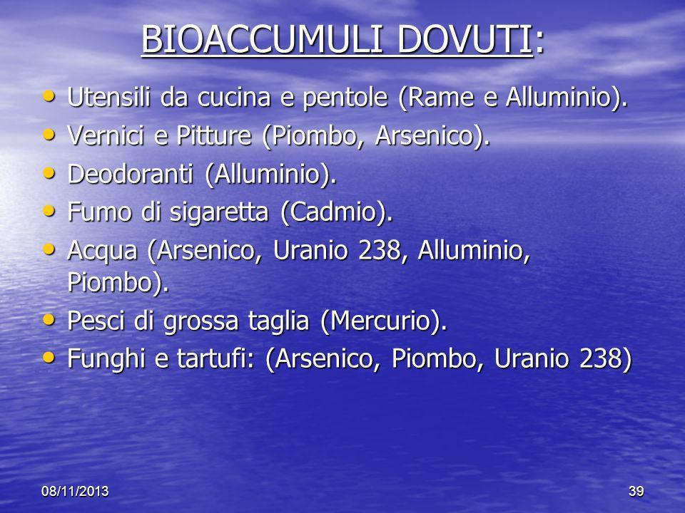 BIOACCUMULI DOVUTI: Utensili da cucina e pentole (Rame e Alluminio).