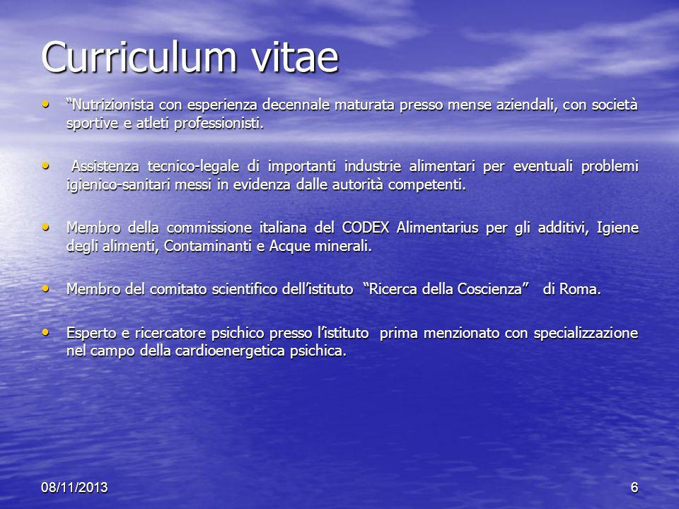Curriculum vitae Nutrizionista con esperienza decennale maturata presso mense aziendali, con società sportive e atleti professionisti.