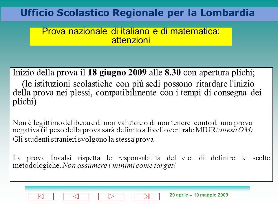 Prova nazionale di italiano e di matematica: attenzioni