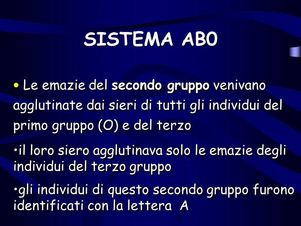 SISTEMA AB0 Le emazie del secondo gruppo venivano agglutinate dai sieri di tutti gli individui del primo gruppo (O) e del terzo.