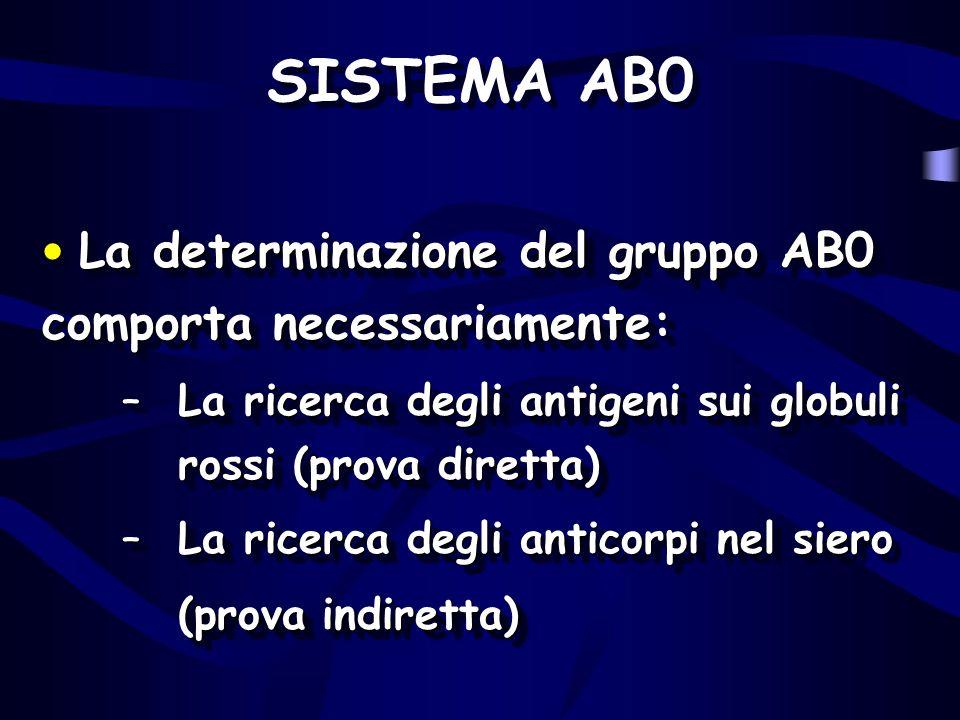 SISTEMA AB0 La determinazione del gruppo AB0 comporta necessariamente: