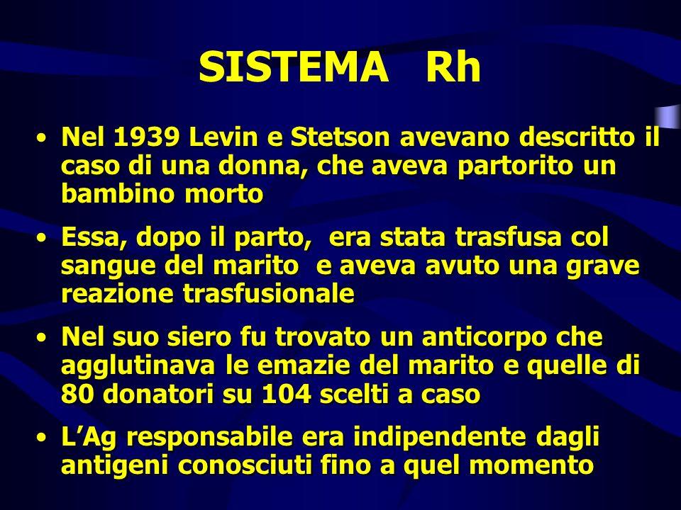 SISTEMA Rh Nel 1939 Levin e Stetson avevano descritto il caso di una donna, che aveva partorito un bambino morto.