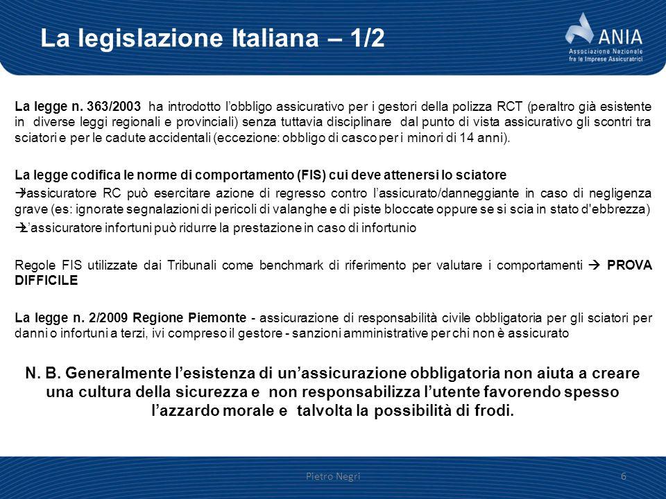 La legislazione Italiana – 1/2