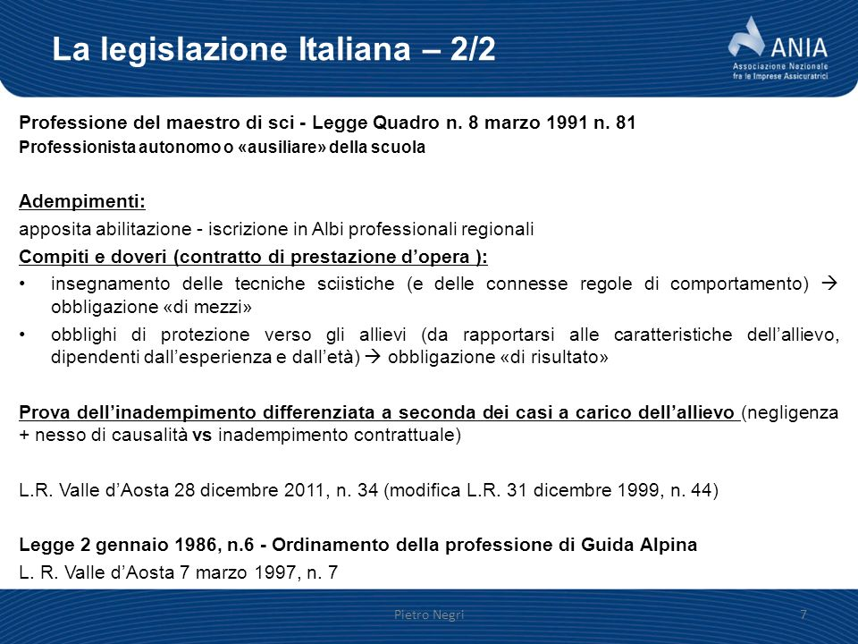 La legislazione Italiana – 2/2