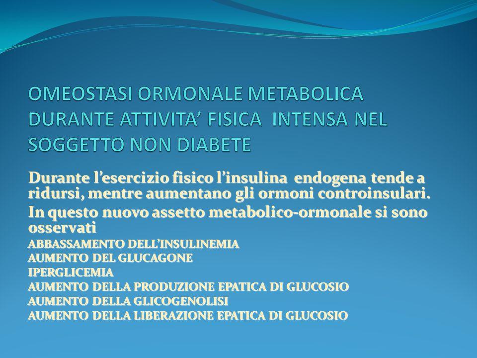 OMEOSTASI ORMONALE METABOLICA DURANTE ATTIVITA' FISICA INTENSA NEL SOGGETTO NON DIABETE
