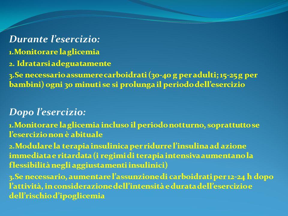 Durante l'esercizio: Dopo l'esercizio: Monitorare la glicemia
