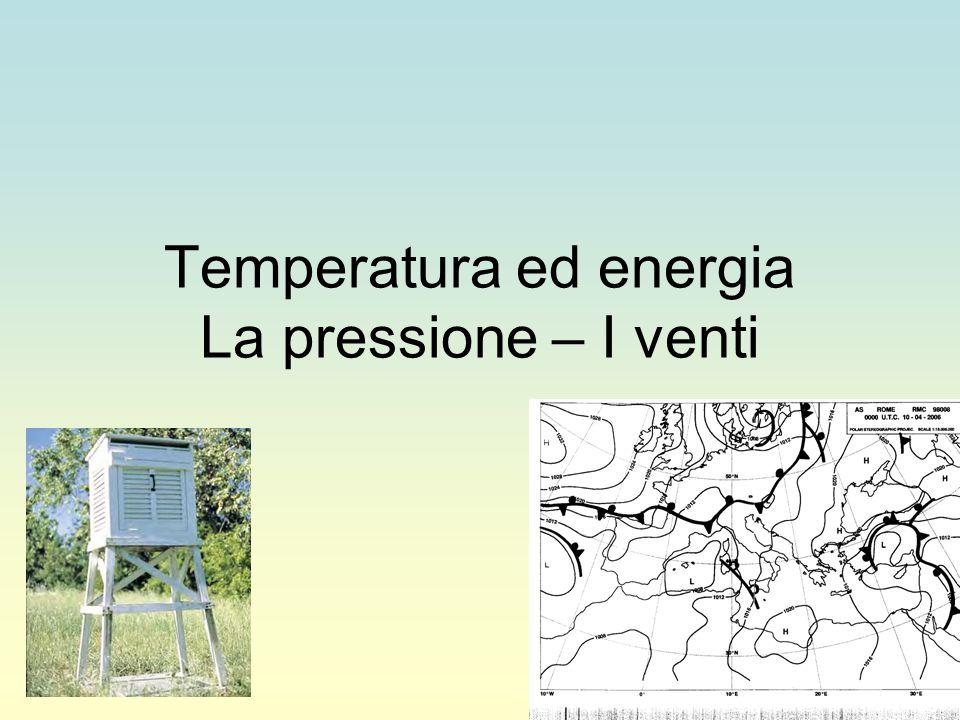 Temperatura ed energia La pressione – I venti