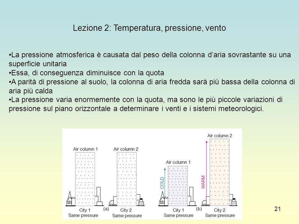 Lezione 2: Temperatura, pressione, vento