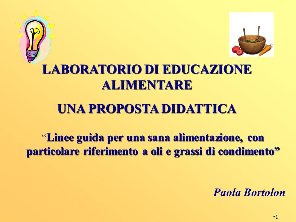 LABORATORIO DI EDUCAZIONE ALIMENTARE UNA PROPOSTA DIDATTICA
