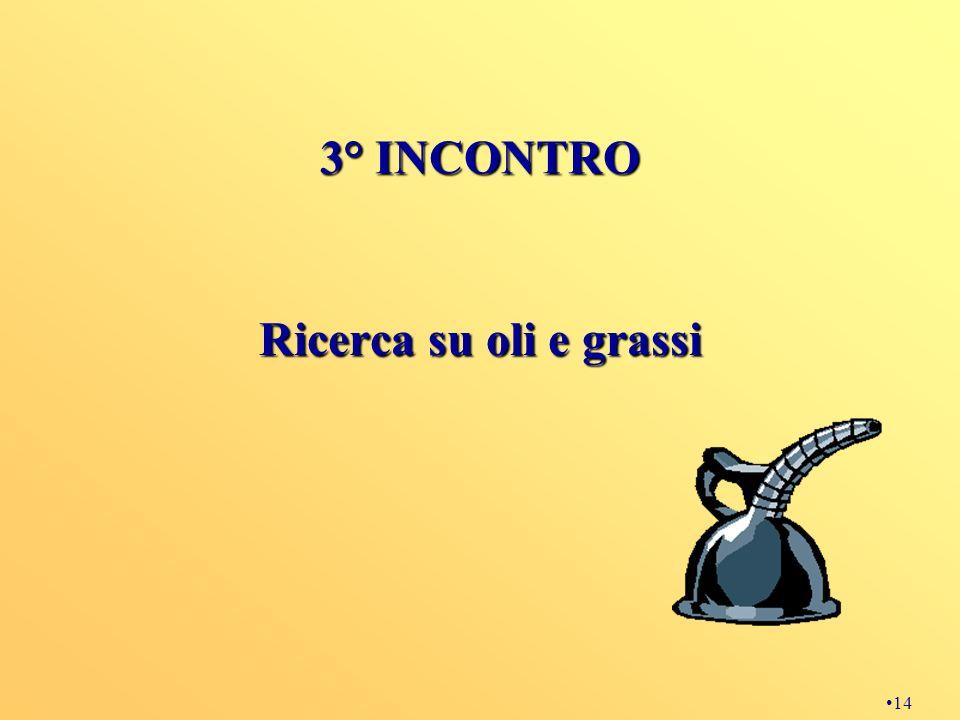 3° INCONTRO Ricerca su oli e grassi