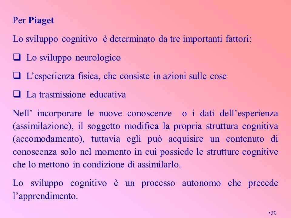 Per Piaget Lo sviluppo cognitivo è determinato da tre importanti fattori: Lo sviluppo neurologico.