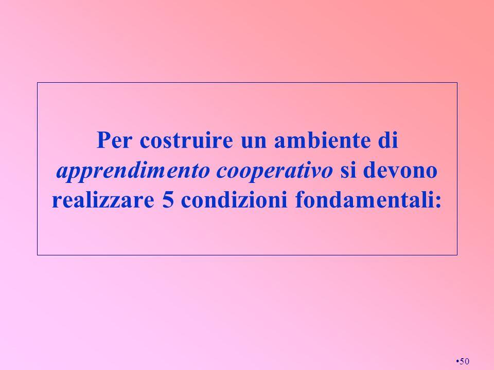 Per costruire un ambiente di apprendimento cooperativo si devono realizzare 5 condizioni fondamentali: