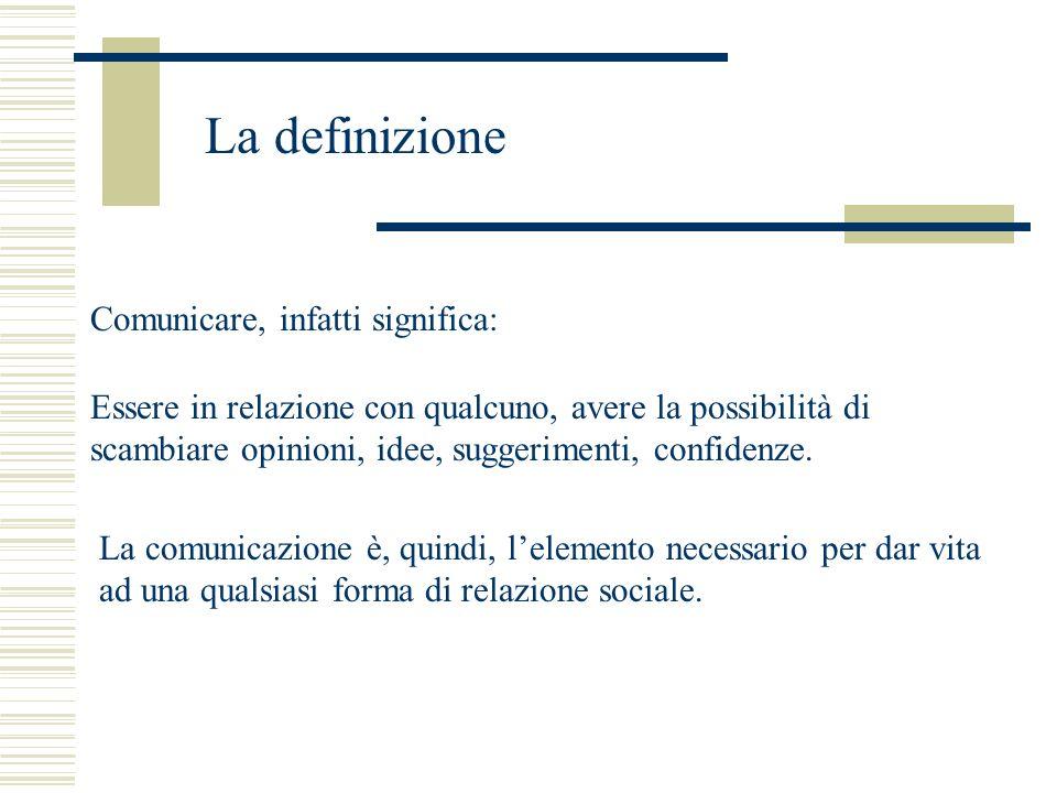 La definizione Comunicare, infatti significa: