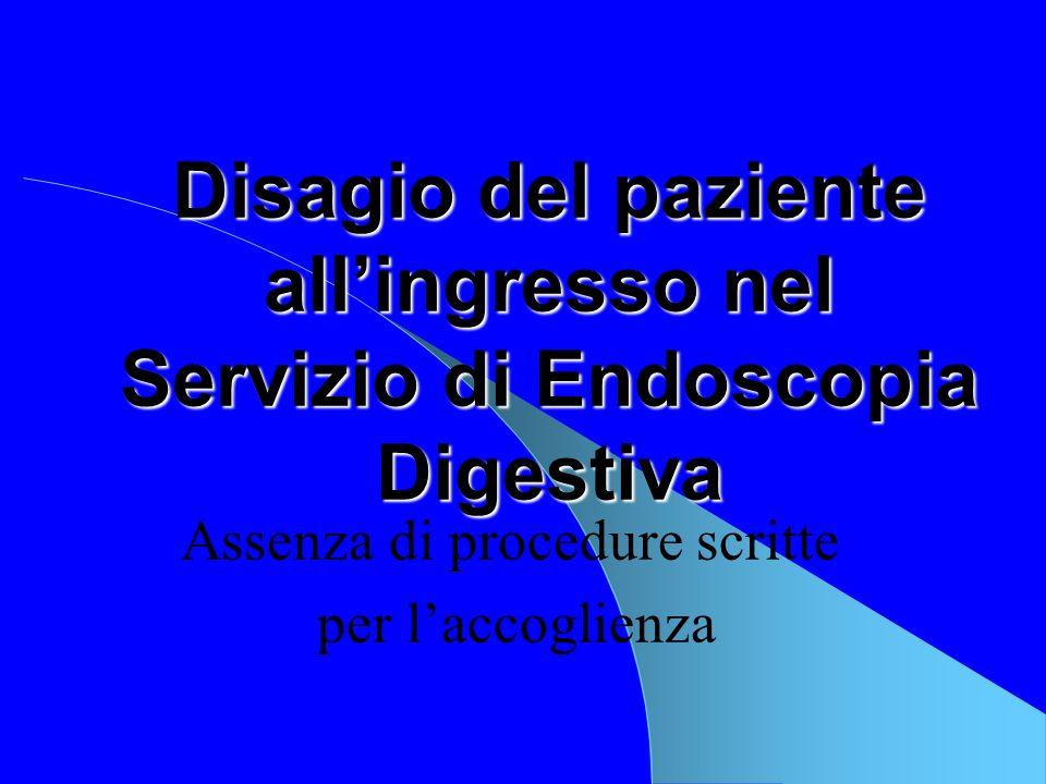 Disagio del paziente all'ingresso nel Servizio di Endoscopia Digestiva