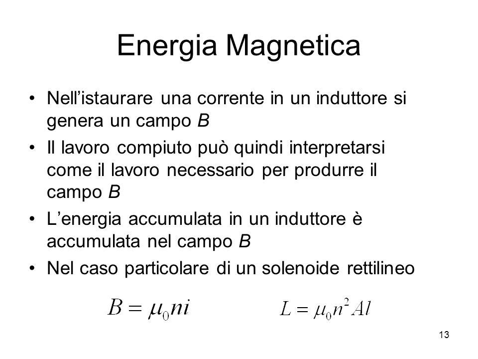 Energia MagneticaNell'istaurare una corrente in un induttore si genera un campo B.